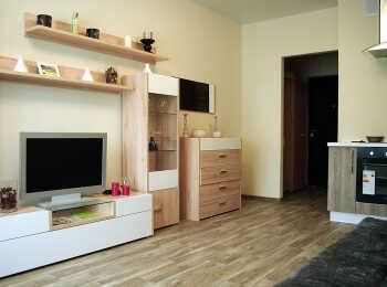 Пример полной отделки комнаты с мебелью